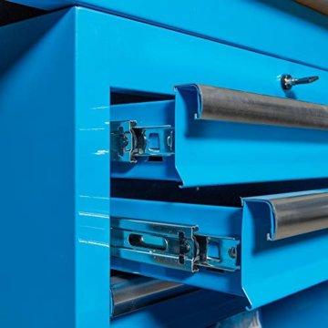 Datona Eckwerkbank mit Werkzeugschrank - Blau - 5