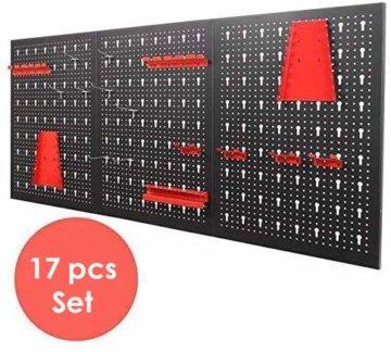 FIXKIT Werkzeuglochwand aus Metall mit 17 teilge Hakenset 120 x 60 x 2 cm, Werkzeugwand Lochwand für Werkstatt, Schwarz und Rot - 2