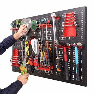 FIXKIT Werkzeuglochwand aus Metall mit 17 teilge Hakenset 120 x 60 x 2 cm, Werkzeugwand Lochwand für Werkstatt, Schwarz und Rot - 3