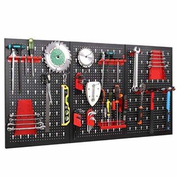 FIXKIT Werkzeuglochwand aus Metall mit 17 teilge Hakenset 120 x 60 x 2 cm, Werkzeugwand Lochwand für Werkstatt, Schwarz und Rot - 1