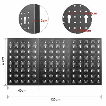 FIXKIT Werkzeuglochwand aus Metall mit 17 teilge Hakenset 120 x 60 x 2 cm, Werkzeugwand Lochwand für Werkstatt, Schwarz und Rot - 5