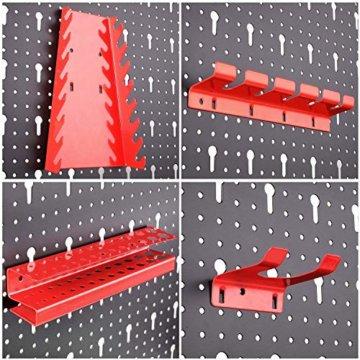 FIXKIT Werkzeuglochwand aus Metall mit 17 teilge Hakenset 120 x 60 x 2 cm, Werkzeugwand Lochwand für Werkstatt, Schwarz und Rot - 6