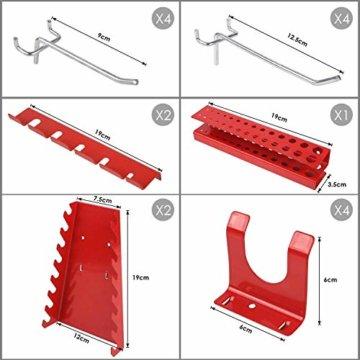 FIXKIT Werkzeuglochwand aus Metall mit 17 teilge Hakenset 120 x 60 x 2 cm, Werkzeugwand Lochwand für Werkstatt, Schwarz und Rot - 7