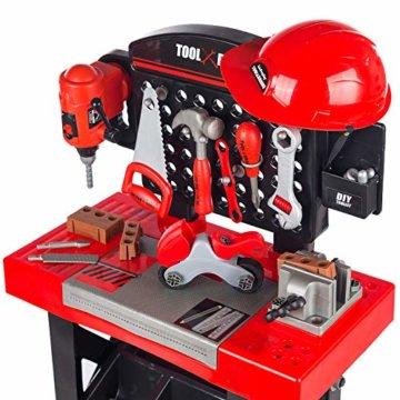 Kinderwerkbank & Zubehör Werkstatt werken Kleinkindspielzeug Kinderbank Werkzeug mit Zubehör KP3777 Werkbank Spielzeug Schrauben und Bauelementen Inkl. Helm Zubehör - 4