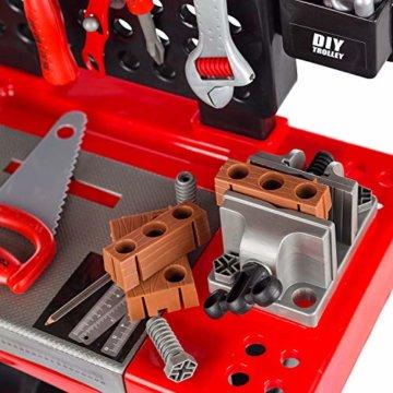 Kinderwerkbank & Zubehör Werkstatt werken Kleinkindspielzeug Kinderbank Werkzeug mit Zubehör KP3777 Werkbank Spielzeug Schrauben und Bauelementen Inkl. Helm Zubehör - 6