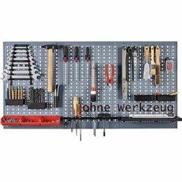 Küpper Lochplatten-Werkzeughalter Lochwand 1200 x 600 mm silber 3 tlg. Euro Lochung inkl. 12 Haken - 1