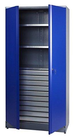 Küpper Material- / Hochschrank 70597, 91x180x45cm, 2 stabile Fachböden mit je 75 kg Tragkraft, 10 kugelgelagerte Schubladen, made in Germany - 1