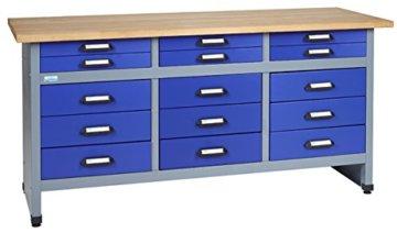 Küpper Werkbank Modell 12977, 170x84x60 cm, 15 Schubladen mit Rollenführungen Farbe ultramarinblau -