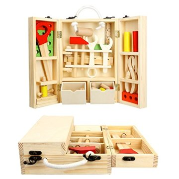 Lewo Holz Werkzeugkasten und Zubehör Set Pretend Play Kit Pädagogische BAU Spielzeug für Kinder - 2
