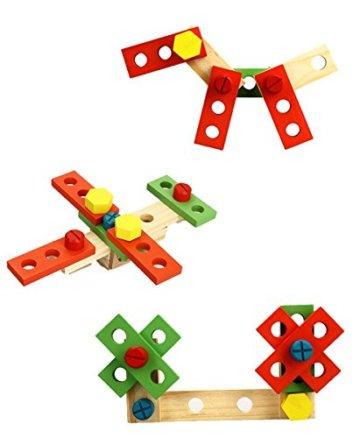 Lewo Holz Werkzeugkasten und Zubehör Set Pretend Play Kit Pädagogische BAU Spielzeug für Kinder - 3