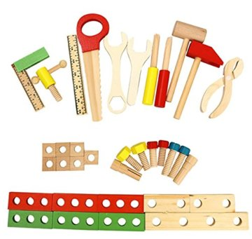 Lewo Holz Werkzeugkasten und Zubehör Set Pretend Play Kit Pädagogische BAU Spielzeug für Kinder - 4