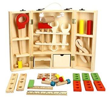 Lewo Holz Werkzeugkasten und Zubehör Set Pretend Play Kit Pädagogische BAU Spielzeug für Kinder - 1