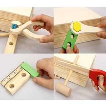 Lewo Holz Werkzeugkasten und Zubehör Set Pretend Play Kit Pädagogische BAU Spielzeug für Kinder - 5
