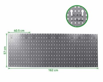 Ondis24 große Werkzeugwand Metall Lochwand mit 50 Haken, 162 x 57 cm groß, Lochwand für Werkstatt (Variante 2) - 2