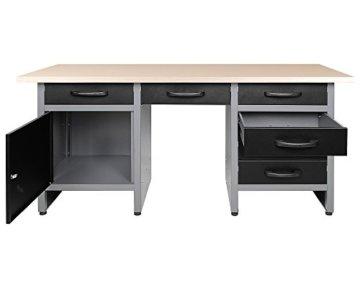 Ondis24 Werkbank 160 cm mit 6 Schiebern und Tür abschließbar Werktisch für Werkstatt Holz Arbeitsplatte (85 cm Arbeitshöhe) - 2