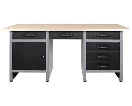 Ondis24 Werkbank 160 cm mit 6 Schiebern und Tür abschließbar Werktisch für Werkstatt Holz Arbeitsplatte (85 cm Arbeitshöhe) - 1