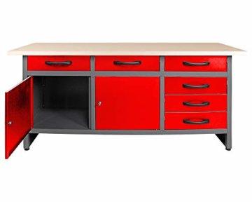 Ondis24 Werkbank rot Werktisch Packtisch 6 Schubladen Werkstatteinrichtung 160 x 60 cm Arbeitshöhe 85 cm - 3