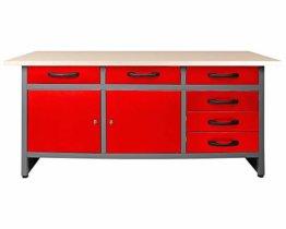 Ondis24 Werkbank rot Werktisch Packtisch 6 Schubladen Werkstatteinrichtung 160 x 60 cm Arbeitshöhe 85 cm - 1