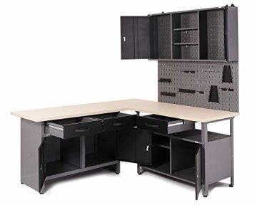 Ondis24 Werkstatt Ecklösung Basic One, 160 cm breit, 2x Werkbank, 1x Werkzeugschrank, Metall, abschließbar, 3x Werkzeugwand - Lochwand, 1x Haken Set (Arbeitshöhe 85 cm, schwarz) - 2