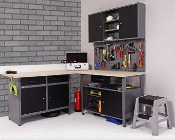 Ondis24 Werkstatt Ecklösung Basic One, 160 cm breit, 2x Werkbank, 1x Werkzeugschrank, Metall, abschließbar, 3x Werkzeugwand - Lochwand, 1x Haken Set (Arbeitshöhe 85 cm, schwarz) - 3