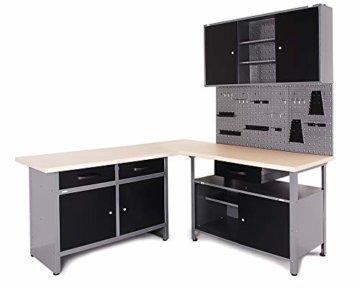 Ondis24 Werkstatt Ecklösung Basic One, 160 cm breit, 2x Werkbank, 1x Werkzeugschrank, Metall, abschließbar, 3x Werkzeugwand - Lochwand, 1x Haken Set (Arbeitshöhe 85 cm, schwarz) - 1