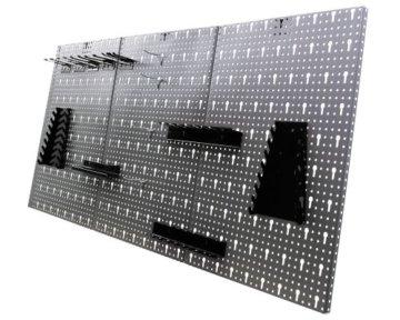 Ondis24 Werkstatt Ecklösung Basic One, 160 cm breit, 2x Werkbank, 1x Werkzeugschrank, Metall, abschließbar, 3x Werkzeugwand - Lochwand, 1x Haken Set (Arbeitshöhe 85 cm, schwarz) - 8