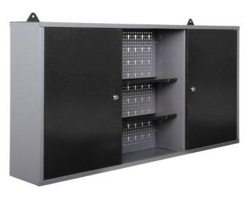 Ondis24 Werkstatt Ecklösung Basic One, 160 cm breit, 2x Werkbank, 1x Werkzeugschrank, Metall, abschließbar, 3x Werkzeugwand - Lochwand, 1x Haken Set (Arbeitshöhe 85 cm, schwarz) - 9