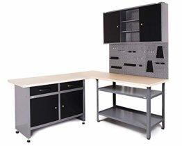 Ondis24 Werkstatt Set Ecklösung Basic One, Werkbank, Werkzeugschrank, Werkzeugwand Lochwand, Haken Set, Metall Bank (Arbeitshöhe 85 cm, anthrazit) - 1