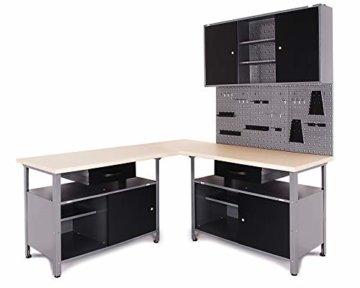 Ondis24 Werkstatt Set Ecklösung Classic One, Werkbank, Werkzeugschrank, Werkzeugwand Lochwand, Haken Set, Metall (Arbeitshöhe 85 cm, anthrazit) - 1