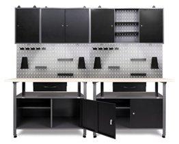 Ondis24 Werkstatt Set Klaus 240 cm 3 Schränke LED (Arbeitshöhe 85 cm, Schwarz) - 1