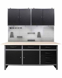 Ondis24 Werkstatteinrichtung 160 cm breit, Werkbank, Werkzeugschrank, Werkzeugwand, LED - 1