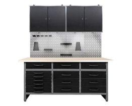 Ondis24 Werkstatteinrichtung 160cm, Werkstatt - Werkbank, Hängeschrank, Euro - Lochwand mit Haken, inkl. LED Beleuchtung - 1