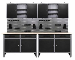 Ondis24 Werkstatteinrichtung 6-teilig Werkbank Werkzeugschrank Werkzeugwand/Lochwand mit Haken - 1