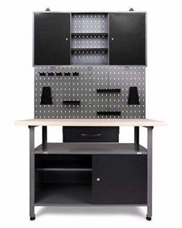 Ondis24 Werkstatteinrichtung Klaus, Metall, TÜV geprüft, 1 Werkstattschrank, Lochwand, Hakensortiment (Arbeitshöhe 85 cm, Schwarz) - 1