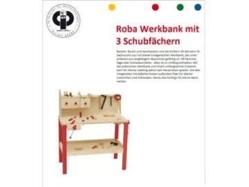 roba Werkbank, grosse Spielwerkbank aus Holz, Meister-Werkbank mit umfangreichem Werkzeug Set, grosser Arbeitsplatte, Ablage u, 3 Schubfächern - 2