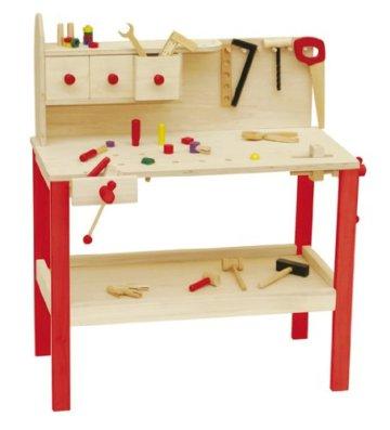 roba Werkbank, grosse Spielwerkbank aus Holz, Meister-Werkbank mit umfangreichem Werkzeug Set, grosser Arbeitsplatte, Ablage u, 3 Schubfächern - 1