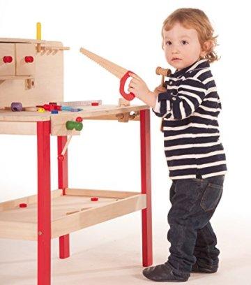roba Werkbank, grosse Spielwerkbank aus Holz, Meister-Werkbank mit umfangreichem Werkzeug Set, grosser Arbeitsplatte, Ablage u, 3 Schubfächern - 5