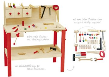 roba Werkbank, grosse Spielwerkbank aus Holz, Meister-Werkbank mit umfangreichem Werkzeug Set, grosser Arbeitsplatte, Ablage u, 3 Schubfächern - 9