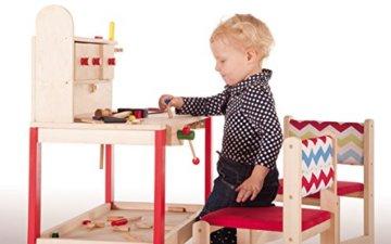 roba Werkbank, grosse Spielwerkbank aus Holz, Meister-Werkbank mit umfangreichem Werkzeug Set, grosser Arbeitsplatte, Ablage u, 3 Schubfächern - 10
