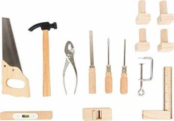 small foot 10839 Werkbank in Natur und Blau aus Holz, mit großer Arbeitsfläche und Werkzeug, ab 8 Jahren - 2