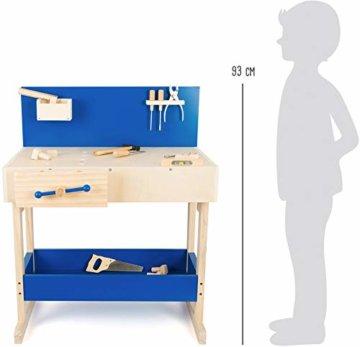 small foot 10839 Werkbank in Natur und Blau aus Holz, mit großer Arbeitsfläche und Werkzeug, ab 8 Jahren - 3
