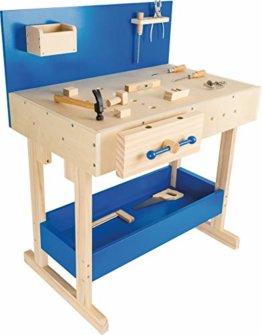 small foot 10839 Werkbank in Natur und Blau aus Holz, mit großer Arbeitsfläche und Werkzeug, ab 8 Jahren - 1