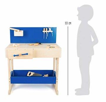 small foot 10839 Werkbank in Natur und Blau aus Holz, mit großer Arbeitsfläche und Werkzeug, ab 8 Jahren - 4