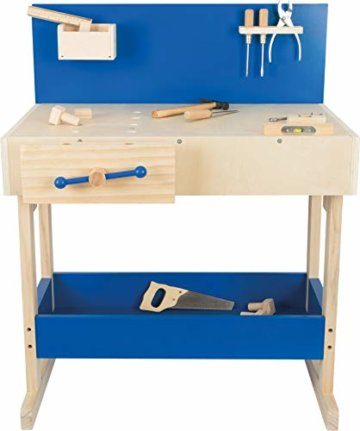 small foot 10839 Werkbank in Natur und Blau aus Holz, mit großer Arbeitsfläche und Werkzeug, ab 8 Jahren - 5