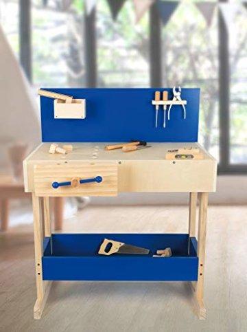 small foot 10839 Werkbank in Natur und Blau aus Holz, mit großer Arbeitsfläche und Werkzeug, ab 8 Jahren - 6