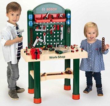 Theo Klein 8461 8461-Bosch Workshop mit extragroßer Arbeitsplatte Holzimitatation und viel Werkzeug, Spielzeug, Grün, Holzfarben - 3