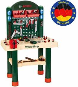 Theo Klein 8461 8461-Bosch Workshop mit extragroßer Arbeitsplatte Holzimitatation und viel Werkzeug, Spielzeug, Grün, Holzfarben - 1