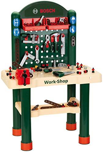 Theo Klein 8461 8461-Bosch Workshop mit extragroßer Arbeitsplatte Holzimitatation und viel Werkzeug, Spielzeug, Grün, Holzfarben - 4