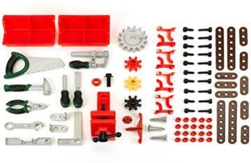 Theo Klein 8461 8461-Bosch Workshop mit extragroßer Arbeitsplatte Holzimitatation und viel Werkzeug, Spielzeug, Grün, Holzfarben - 6