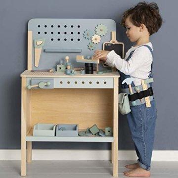 Tiamo Little Dutch 4448 Holz Spielwerkbank mit Werkzeuggürtel und Zubehör blau Mint 86x36x55 cm - 2